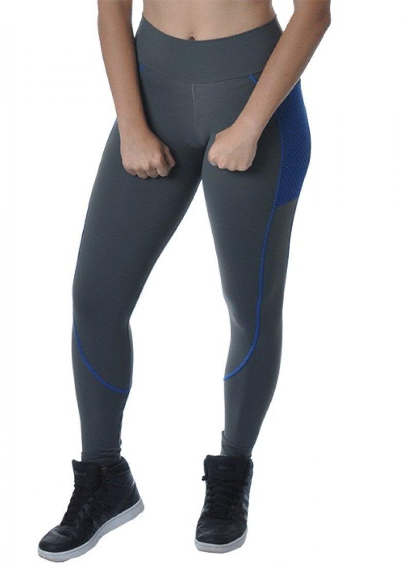 Legging Mescla Com Detalhe Azul