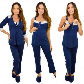 Pijama Gestante e Amamentação 3 Peças